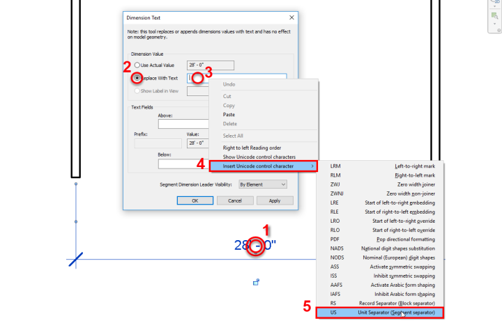 How to Change a numerical value of Revit Dimension, Unicode, Unit Separator